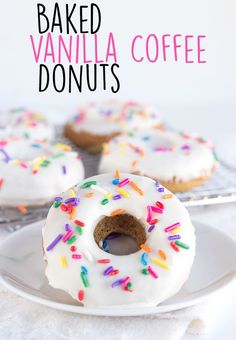 Baked Vanilla Coffee Donuts - Vanilla donuts baked up with a lightly infused coffee flavor. ?