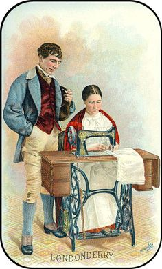 """I feel like the guy is mansplaining to her how to sew. Singer Sewing Machine trade card """"Londonderry"""" c. Images Vintage, Vintage Pictures, Vintage Cards, Vintage Paper, Vintage Postcards, Sewing Cards, Antique Sewing Machines, Love Sewing, Sewing Notions"""
