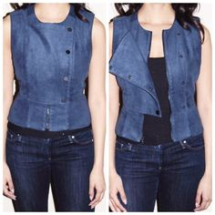 BCBGMAXAZRIA navy suede vest Fitted, cutouts in the back, can be worn opened or closed. BCBGMaxAzria Jackets & Coats Vests