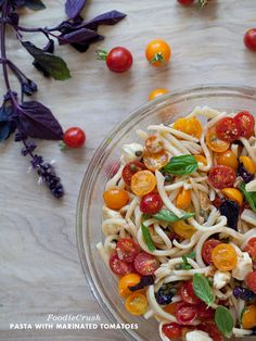 A delicious Pasta with Marinated Cherry Tomatoes PLUS 55 other Tomato Recipes.  This is the ULTIMATE Tomato Go to!  via @foodiecrush