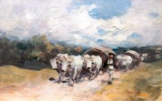 Nicolae Grigorescu-Car cu boi pe drum de ţară Human Pictures, New Art, Drums, Roman, Drawings, Modern, Artwork, Artist, Painting