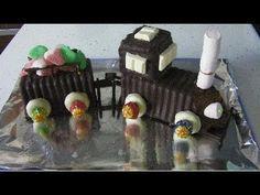 tarta en forma de tren de bizcocho de chocolate y chuches (gominolas) (CAKE) - YouTube
