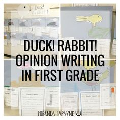 DUCK! RABBIT! Opinion Writing in First Grade! This blog post explains how to use the book Duck!Rabbit! with 1st graders to introduce paragraph and opinion writing.