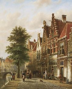 JOHANNES FRANCISCUS SPOHLER DUTCH THE GRACHTEN, AMSTERDAM: A PAIR
