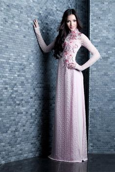 Modern pink lace ao dai.