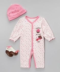 This Vitamins Baby Pink 'Sweet as Can Be' Sprinkle Cupcake Playsuit Set - Infant by Vitamins Baby is perfect! Sprinkle Cupcakes, Cute Cupcakes, Baby Girl Fashion, Toddler Fashion, Olive Clothing, Princess Closet, Little Princess, Future Baby, Playsuit
