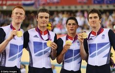 Dream team: Edward Clancy, Steven Burke, Peter Kennaugh and Geraint Thomas celebrate their triumph
