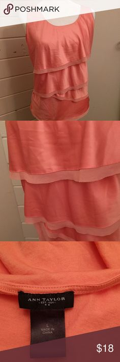 Ann Taylor coral tiered tank top Very soft material. Needs to be ironed but otherwise great condition Ann Taylor Tops Tank Tops
