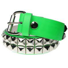 2 Row Pyramid Belt UV Green | Gothic Clothing | Emo clothing |... ($23) via Polyvore