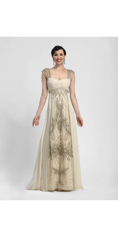 Shop for and buy this beautiful vintage style Sue Wong Champagne Long Dress. Click or call (323) 592-9172.