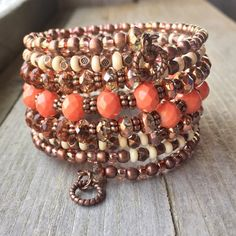 This 7 coil bracelet made with copper memory wire - will adjust to the size of your wrist and no chance of breaking. This will ensure you will