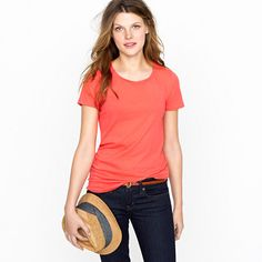 Colored crewneck tees great for layering with solids or stripe cardigans and tops