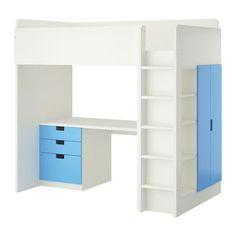 IKEA - STUVA, Hoogslapercombi m 3 lades/2 deuren, wit/blauw, , Je kan het bureau parallel aan het bed monteren, haaks op het bed of completeren met 2 ADILS poten als je het vrijstaand wilt hebben.