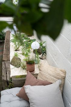 Looking down into a modern-rustic raised dry garden styled with linen and jute cushions for seating and Fermob portable outdoor lights - linen cushions by Linen Tales - French mattress style seat pads Chalk Hill, Dry Garden, Garden Nursery, Hardy Perennials, White Doves, Seat Pads, Shade Garden, Garden Styles, Geraniums