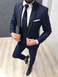 Name: Ashes Stony Collar Groom Suit – Navy Collection: Spring – Summer 2019 Product: Slim-Fit Suit Vest Color Code: Navy Blue Size: Suit Material: Viscose, Poly Machine Washable: No Fitting: Slim-fit Package Include: Coat, Vest and Pants Only Slim Fit Tuxedo, Slim Fit Suits, Tuxedo For Men, Tuxedo Suit, Prom Suits For Men, Dress Suits For Men, Suits For Groom, Groom Wear, Bride Groom