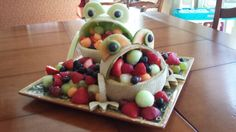 Melon frogs! Great centerpiece for seder or any celebration.