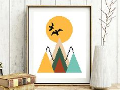 Abstract geometric modern cross stitch pattern, landscape, sunset, mountains, sun, birds, triangles, Scandinavian style, instant pdf, diy