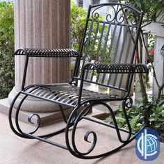 <li>Rocking chair is constructed of durable iron</li><li>Patio furniture features weather-resistant double powdercoated black finish</li><li>Outdoor chair glides with a smooth rocking motion</li>