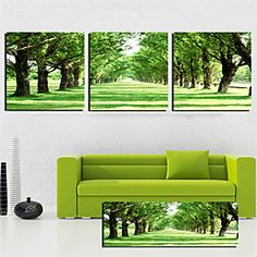 Stretched Canvas Art Landscape Green Trees Road Set of 3
