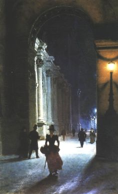 "Aleksander Gierymski, was a Polish genre, landscape and cityscape painter, a representative of Realism. ""Louvre Museum at Night"", Maurice Utrillo, Art Et Architecture, Louvre, Paintings I Love, Nocturne, National Museum, Painting Inspiration, Painting & Drawing, Art History"