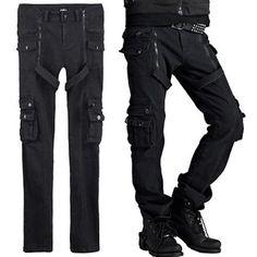 Cool Black Military Punk Rock Biker Casual Pants Clothing for Men SKU-11404221