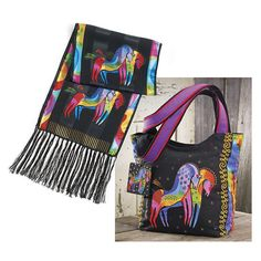 "Black ""Rainbow Horses"" XL Scoop Tote by Laurel Burch"