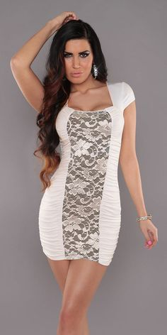 SEXY WOMENS OFF WHITE GATHERED ROUCHED LACE DRESS PARTY MINI DRESS SIZE 10 12