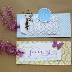 """Fairy Party Favors - """"thank you fairy much for coming to my party"""" with wildflower seed packets"""