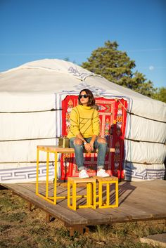 Outside a yurt at El Cosmico in Marfa, TX