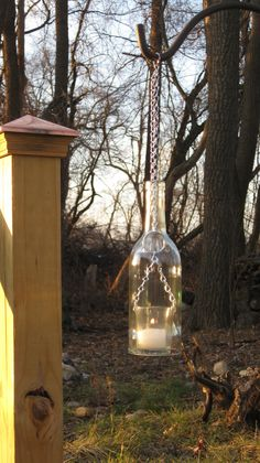 Wine Bottle Chain Lantern: Garden Light/Candle Holder - Clear.