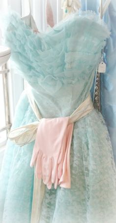 50s pastel vintage prom dress and gloves
