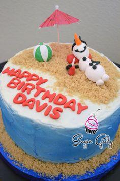 Frozen Themed Olaf in Summer Birthday Cake by Sugie Galz in Austin Texas!