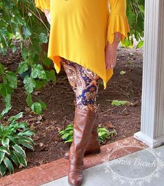 Navy and Brown Paisley Leggings-Extended