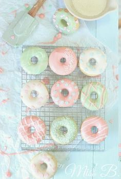... mini baked donuts in pastels