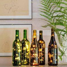fairy string lights wine bottle