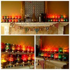 Eid Decorating. Ramadan/Eid Mantel. Ramadan countdown to Eid lanterns all lit up!