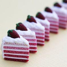 Polymer Clay Strawberry Layer Cake Charm by SweetCherryShop, $8.00