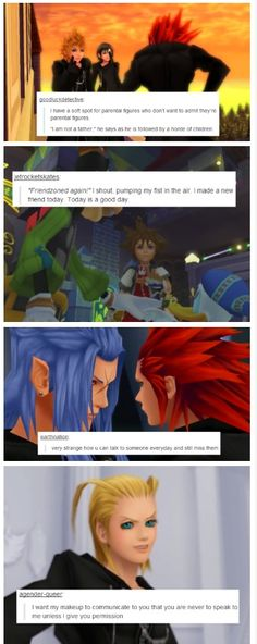 Kingdom Hearts Text Posts. The top one's my favorite. I deeply admire the person who put that text with Axel. I get so ticked when people try to make Axel out as a total creeper. I always saw him as either a parental figure or an older brother to Roxas and Xion.