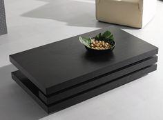 Black Coffee Table Oak Wood Magazine Rack Rectangle Living Room Furniture Modern