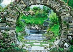 Celtic sanctuary -	 A moon gate archway made out of dry stone walling. Small…
