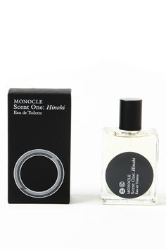 HOPE & MONOCLE by COMMES DES GARCONS. Produced for Monocle by Comme des Garcons' perfumer, Antoine Maisondieu. Hinoki is a cedary, woody scent inspired by Japanese hot-spring baths and Scandinavian forests.