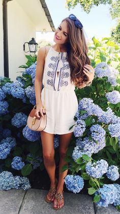 cute summer outfit # love the print on the dress # easy and flowy $ her sunnies and her little purse are so cute!