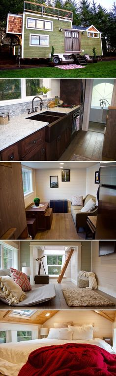 A Bay Area couple contacted Tiny Heirloom to build their 220-square-foot tiny home, the Tiny Craftsman Home, including a 160-square-foot rooftop deck.