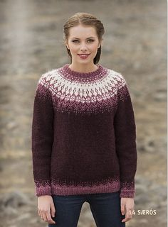 The body and sleeves are knitted in the round, connected together for the circular yoke.