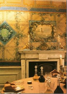 Princess Lee Radziwill's country home, Turville, a 17th century Queen Anne in Oxfordshire. Renzo Mongiardino was the designer for Turville and the dining room is considered the most spectacular room in the house.