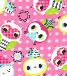 Snuggle Flannel Fabric-Owl Toss Glitter