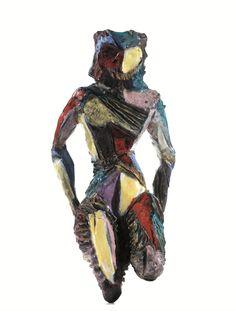 Marcello Fantoni; Glazed Terracotta Figure, 1950s.