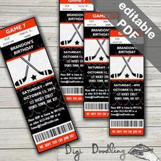Printable Hockey Ticket Birthday Invitation Sports Boys