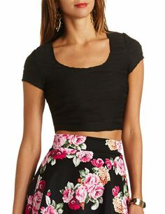 c83e17d83c0 Wavy Pin-Tuck Crop Top  Charlotte Russe Cute Teen Outfits