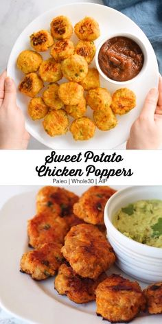 These sweet potato chicken poppers are gluten-free, paleo, AIP, egg-free, and totally delicious! potato al horno asadas fritas recetas diet diet plan diet recipes recipes Baby Food Recipes, Healthy Dinner Recipes, Whole Food Recipes, Vegetarian Recipes, Eat Healthy, Sweet Potato Toddler Recipes, Healthy Drinks, Sweet Potato Meals, Heart Healthy Foods